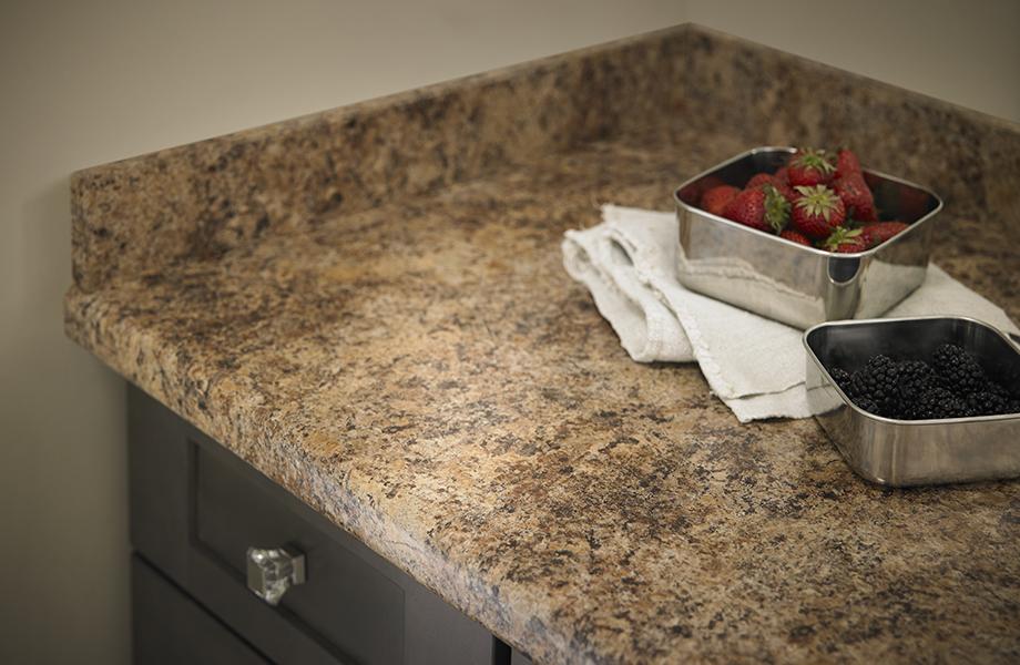 Butterum Granite laminate countertop with bowls of berries