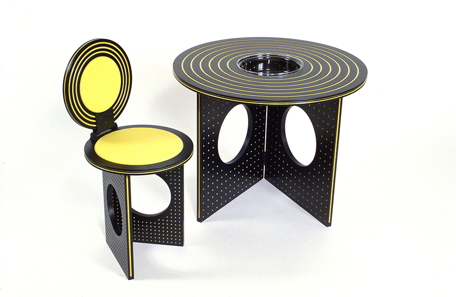 Modern black and yellow Formica laminate table and chair