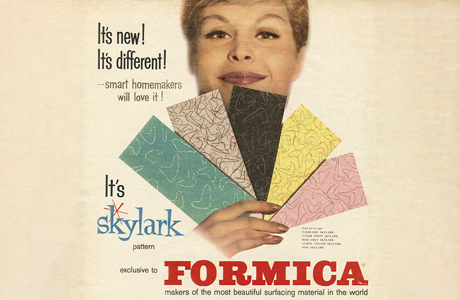 Ad showing woman holding five colors of Formica laminate in the Skylark pattern