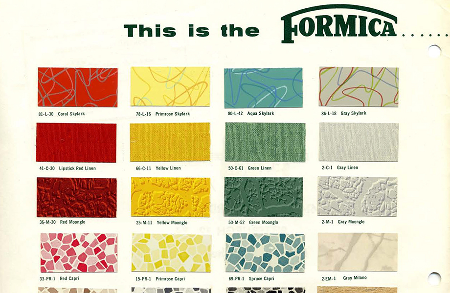 Formica laminate Sunrise collection in multiple colors
