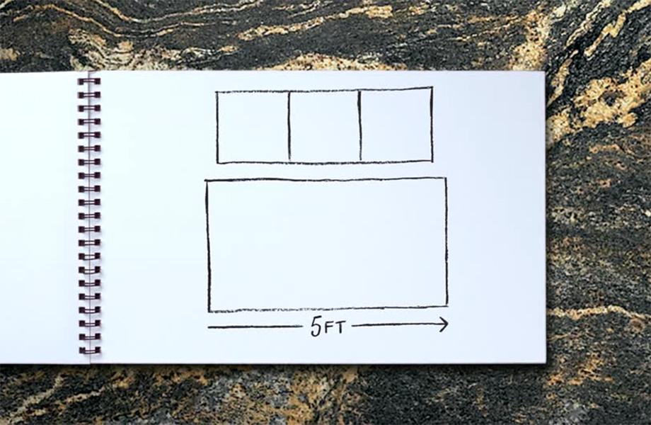 Diagram comparing full-scale 180fx laminate to smaller tiles