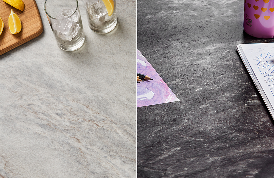 Formica Laminate surfaces showing the Scovato texture