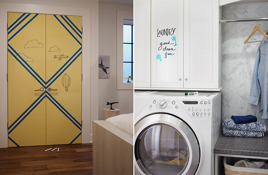 Formica Writable Surfaces showing the Gloss texture on a bedroom door and laundry cabinet