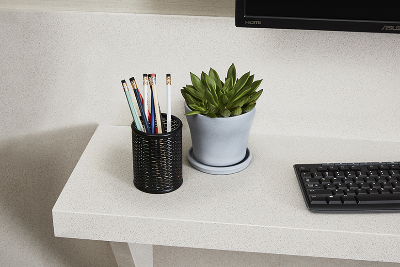 333 Wheat Matrix solid surface counter with pencils and plant