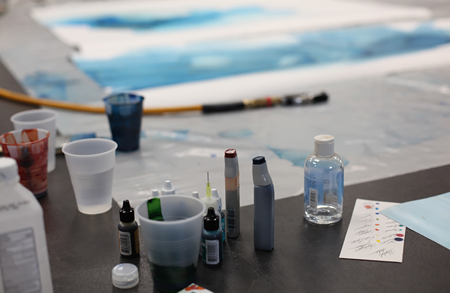 The supplies to create the Watercolor series