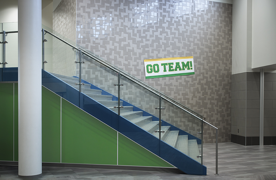 Stairway in educational setting with Algae HardStop wall protection panels