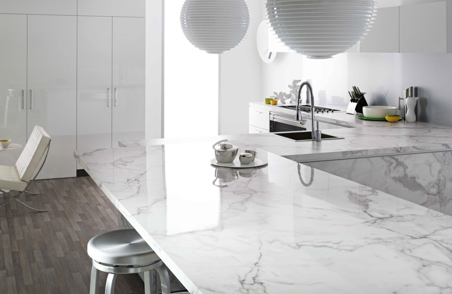 Kitchen countertops in Formica® 180fx® laminate Calacatta marble 3460-90