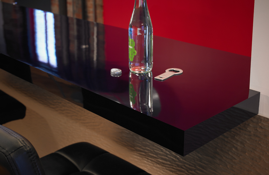 Countertop in Formica® Laminate 5323-90 Nocturne, vertical surfaces in metal laminate DecoMetal® by Formica Group M6484 Argent Craft