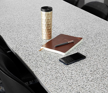 412 Dalmata Terrazzo Matrix study table with notebook and coffee