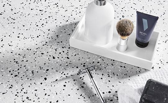 410 Argento Terrazzo Matrix Bathroom sink with razor and soap dish