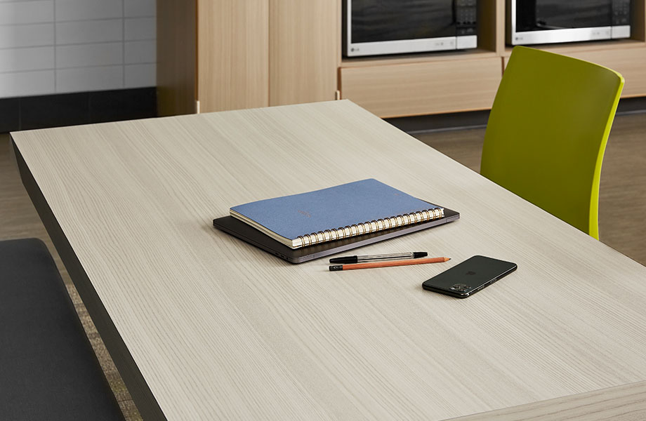 5784-NG Ashwood Bone Study table with notebook