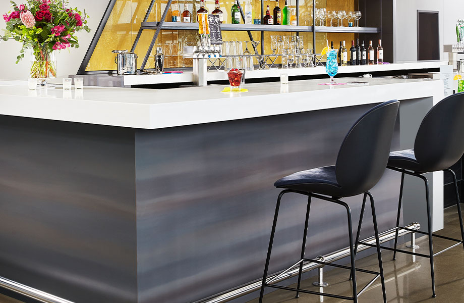 M9420 Light Rolled Steel bar with 601 Bleached Concrete bar top