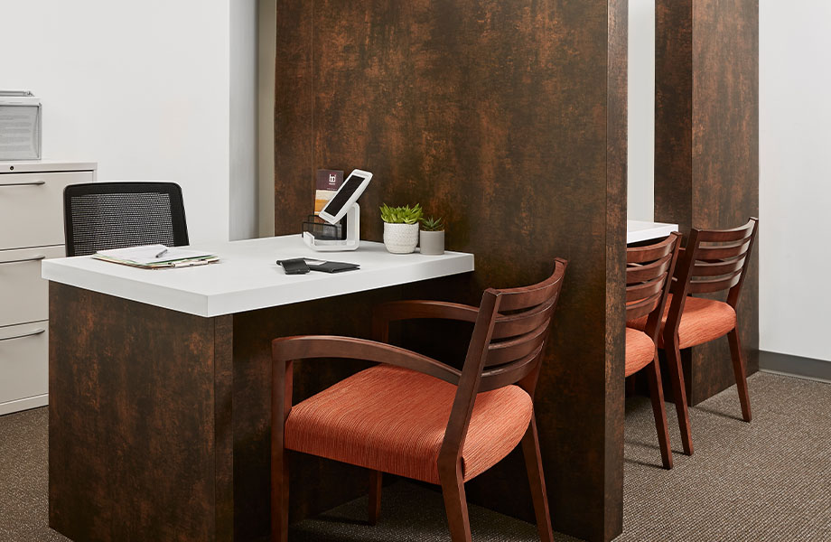 M9424 Copper Patina wall panels and 103 Frost desk