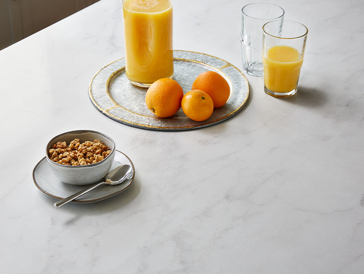 5018 11 Calacatta Cava with oats, oranges and orange juice