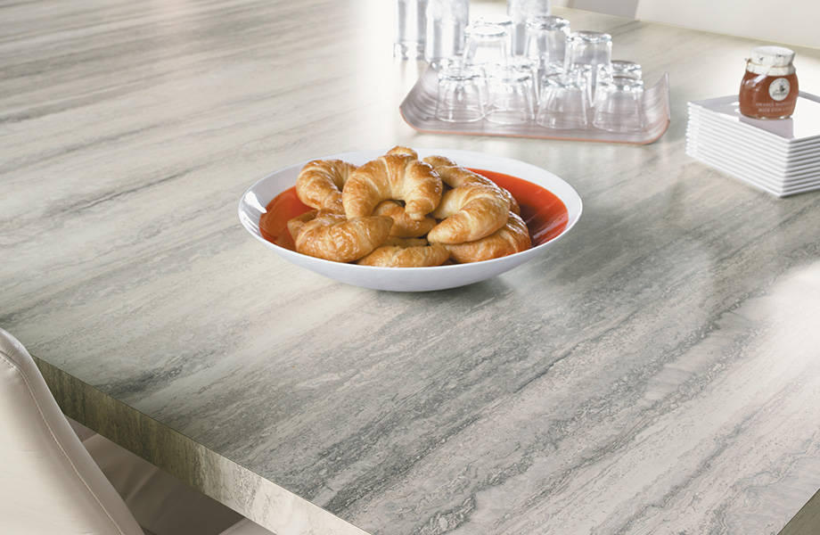 Kitchen table top with croissants 3458 Silver Travertine 180fx