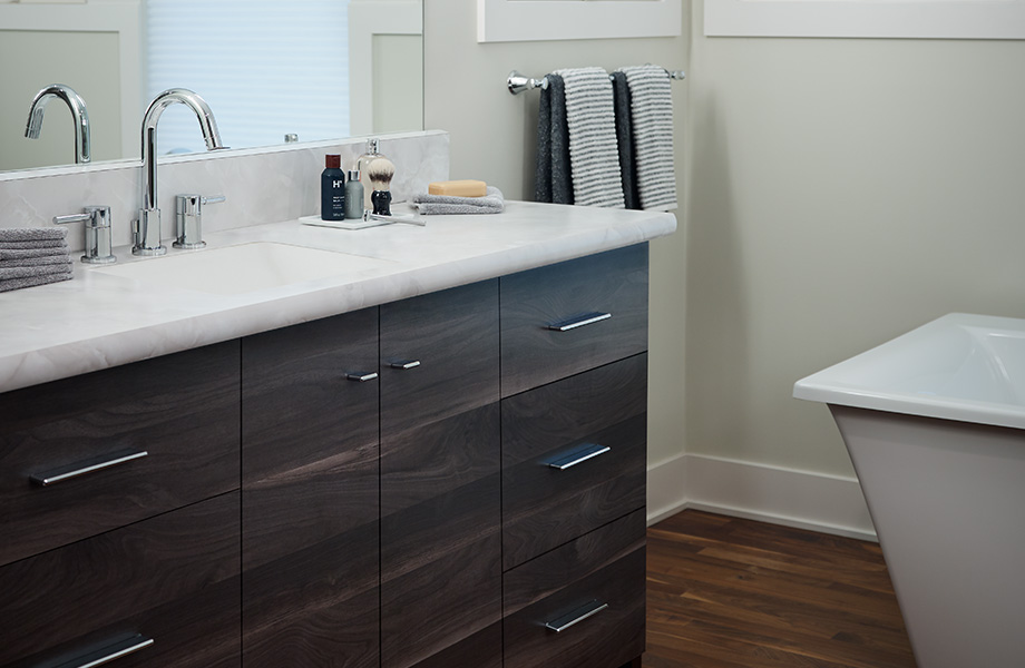 Bathroom vanity 180fx® Laminate by Formica Group countertop 7411 Smoky Planked Walnut
