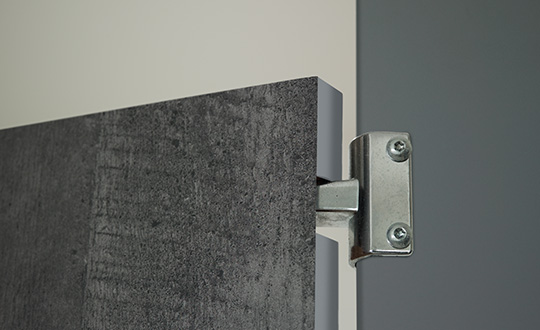 Restroom partitions 6416 Charred Formwood 928 Mouse ColorCore2 Compact