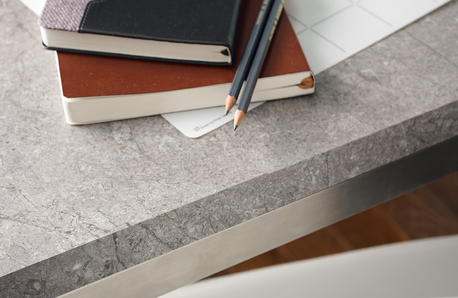 Desk with books and pencils 7407 Marmara Gray Formica Laminate
