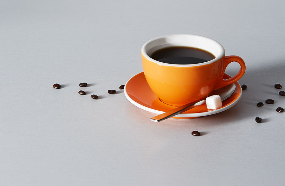9318 BH Aluminum tabletop with coffee mug and coffee beans