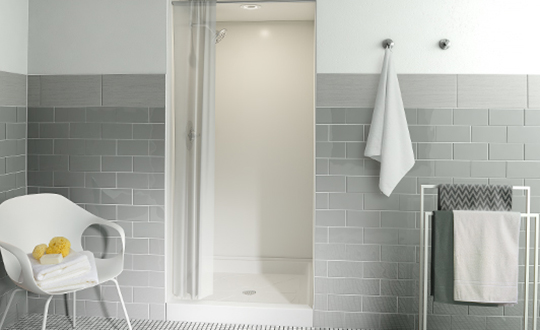 Gym shower 102 Arctic Formica Solid Surfacing