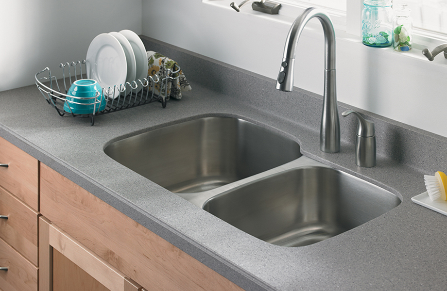 Merveilleux Kitchen Sink With Dish Rack S173U 302 Pesto Mist Formica Solid Surfacing