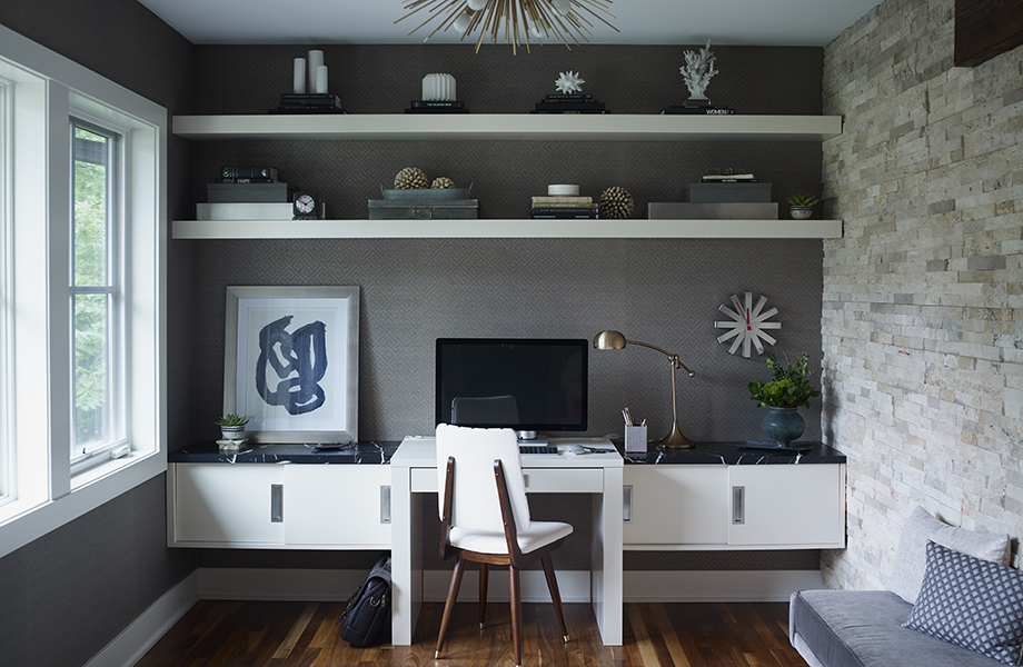 7403-11 Nero Marquina desk with 949C-58 White shelving and sliding drawers in living room office