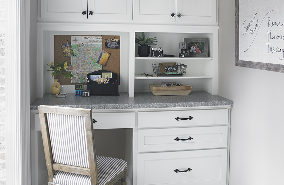 Small desk with 3518-58 Flint Crystall top and cabinetry