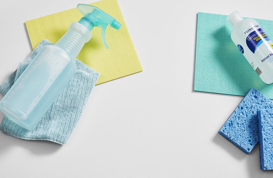 Superficie Sólida Acrílica Luna Brite White y suplementos de limpieza