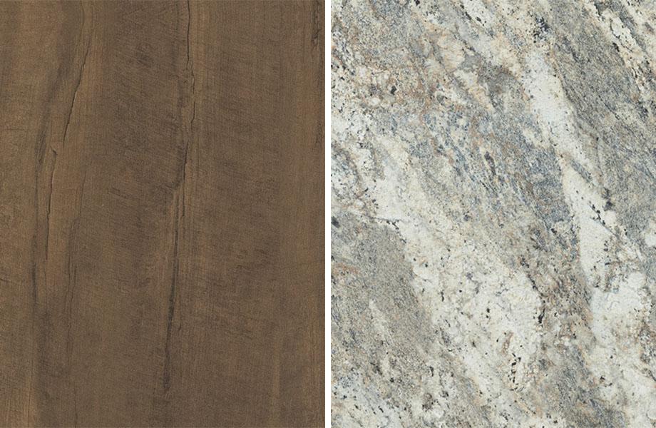 Woodgrain and stone pairing: Oxidized Beamwood and Café Azul