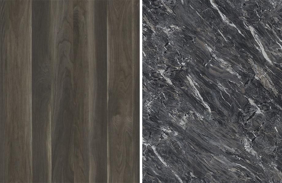 Woodgrain and stone pairing: Smoky Planked Walnut and Stormy Night Granite