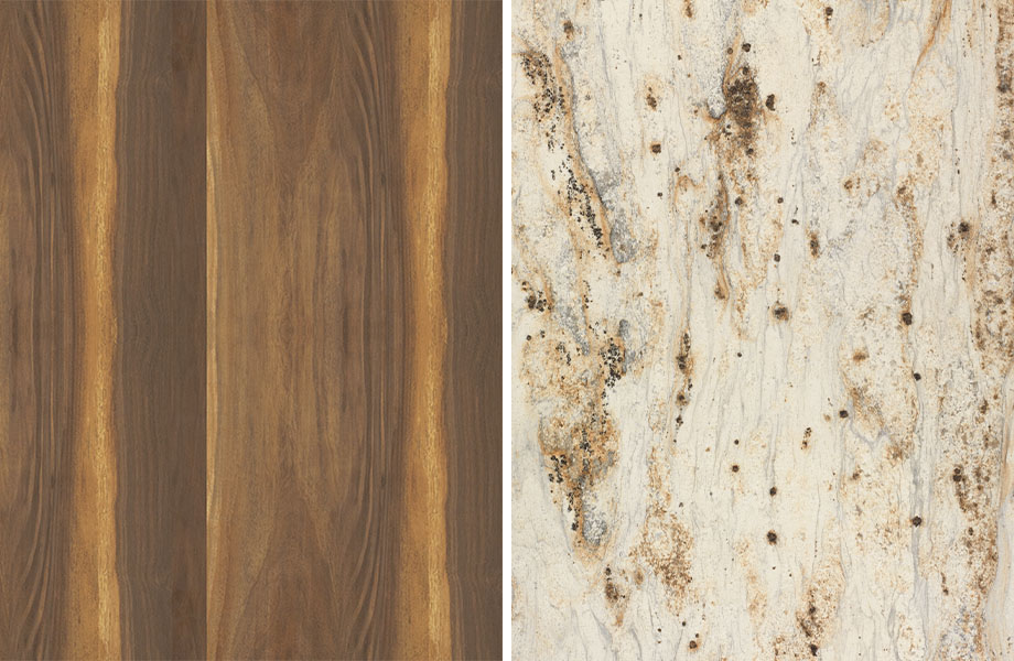 Woodgrain and stone pairing: Wide Planked Walnut and River Gold