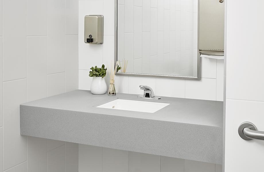 Cubierta de baño de Superficie sólida gris 415 Luna Steel y tarja integrada con espejo