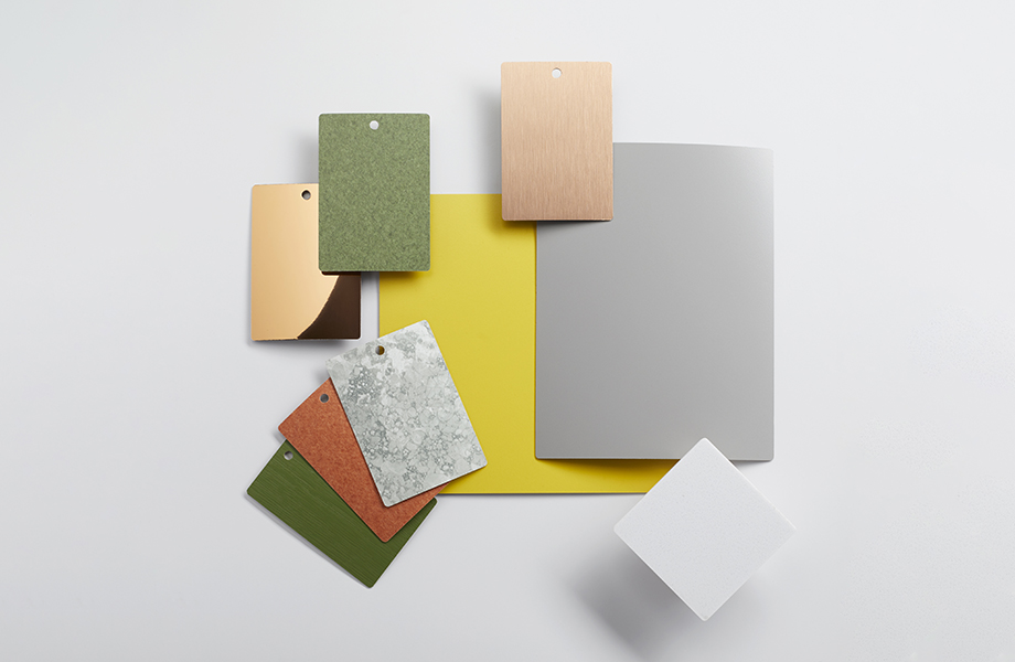 Colección de muestras de laminado Formica en verde, gris y amarillo