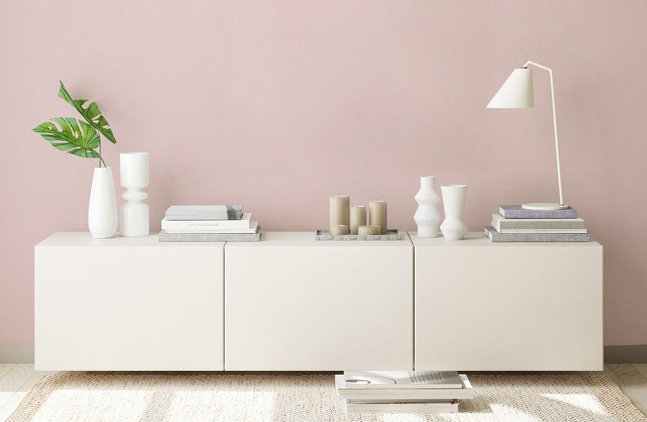 Espacios combinados en rosa Muro Just Rose 8858 y mueble