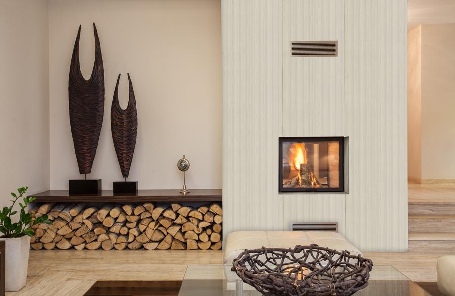 Muro y chimenea inspirados en maderas