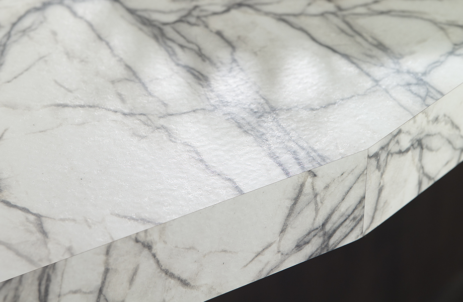 White marble Quartzite Bianco laminate countertop with drinks and snacks