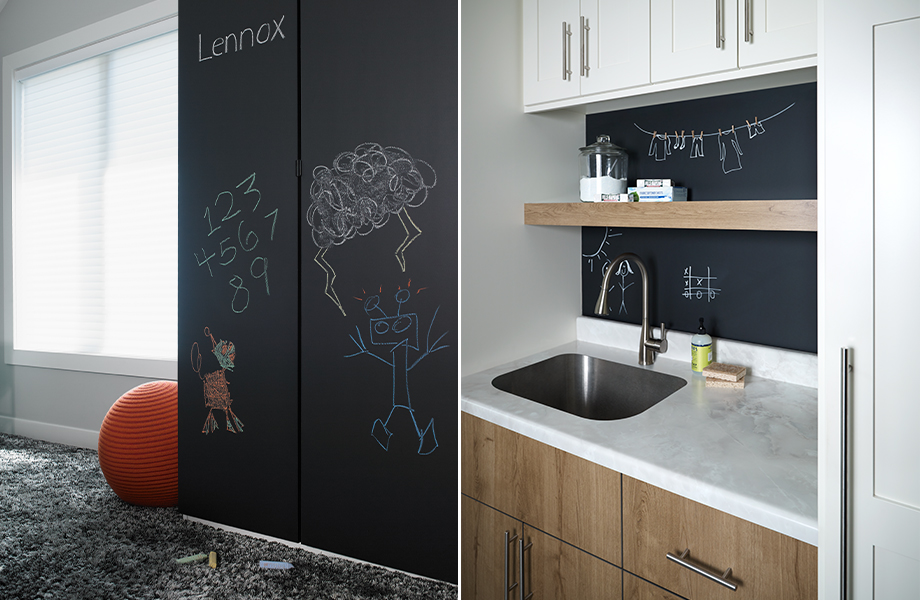 Formica Writable Surfaces showing the Chalkboard texture on a wall and bar backsplash