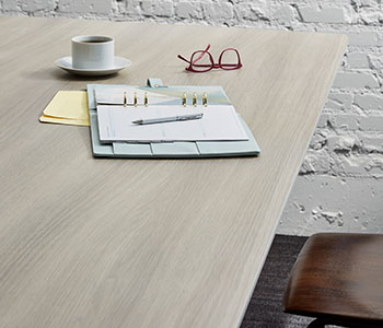 5791 PG Grayed Oak table with notebook and coffee