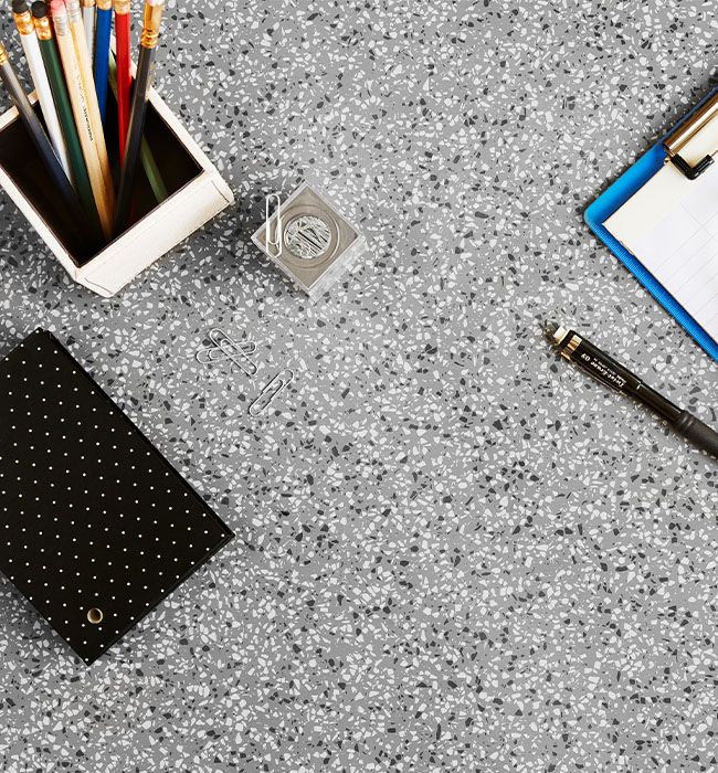 411 Grafite Terrazzo Matrix Desk top with clipboard and cell phone