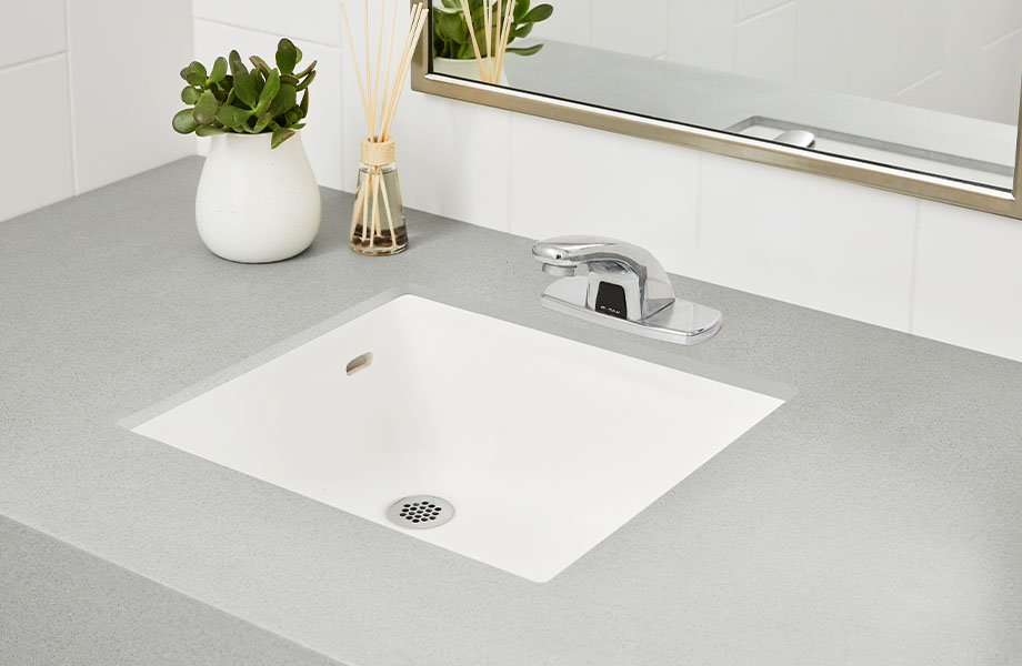 415 Luna Steel solid gray countertops with white solid surface sink in bathroom with plant