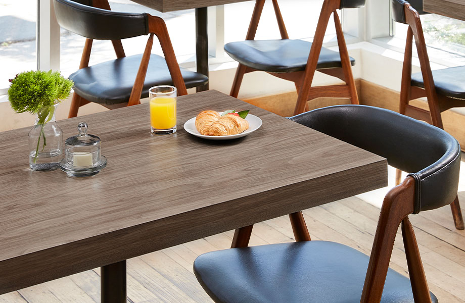 5788-NG Hazel Walnut wood table with breakfast