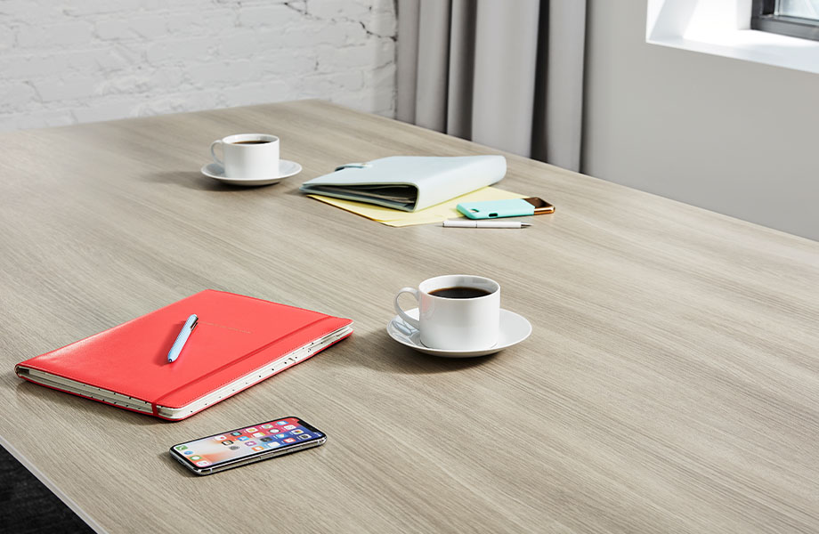 5791 PG Grayed Oak conference room table with coffee