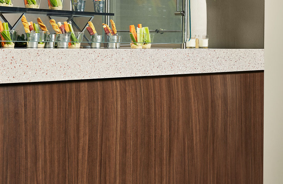 5789-43 Clove Spice Cherry decorative wood panels for walls with 772 Copper Quartz counter