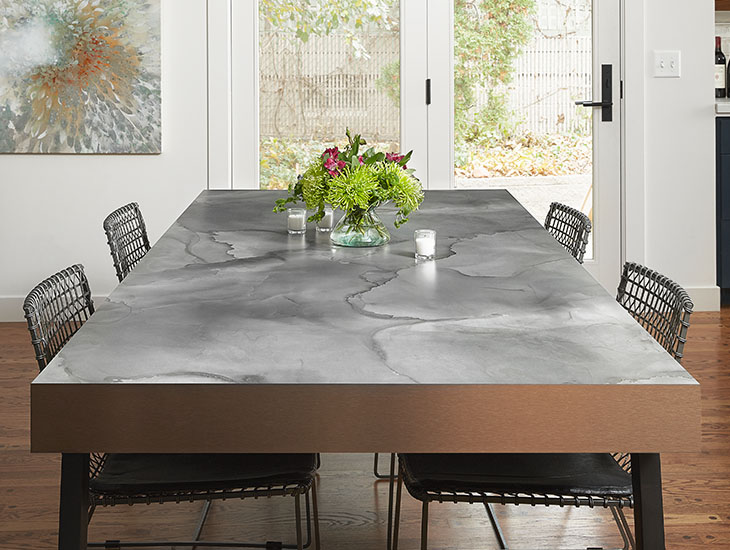 5017 11 Watercolor Steel, M2126 Brushed Bronzetoned Aluminum dining room table with flowers