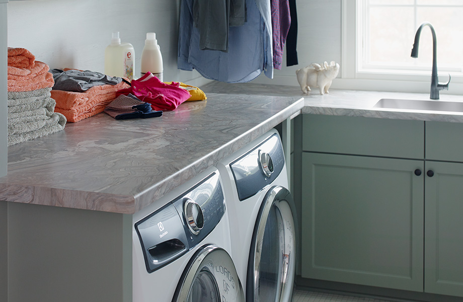 Laundry room with folded towels 7404 Neapolitan Stone 180fx
