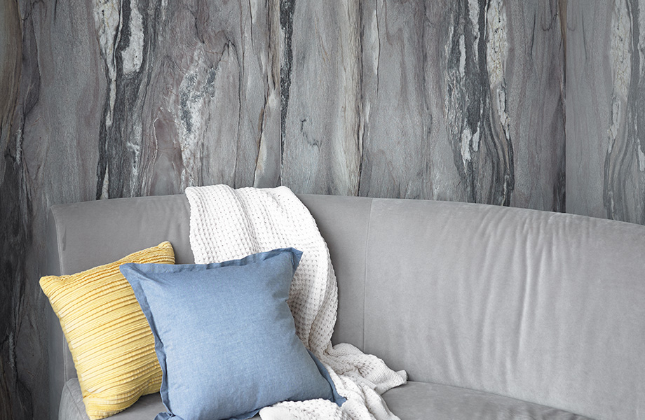 """Named after the Oscar-winning 1960 film """"La Dolce Vita"""" about the """"sweet life"""" of Rome, the Dolce Vita pattern also features dramatic twists and turns. Beautiful lyrical movement is apparent in its veining and fine white crystalline structures. This quartzite from Italy has tones of off-white, grey and charcoal, with just a hint of dusky violet and rose gray to sweeten the story."""