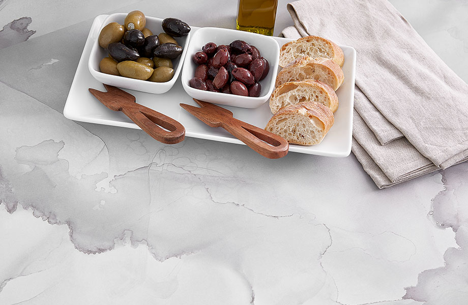 5016-11 Watercolor Porcelain white and gray counters with bread and olives