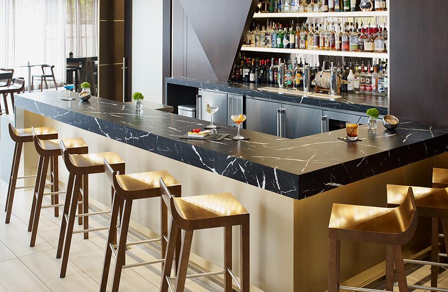 Bar countertop with spirits 7403 Nero Marquina 180fx