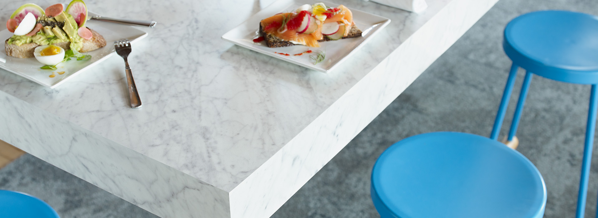 Table top with food 6696 Carrara Bianco ColorCore2