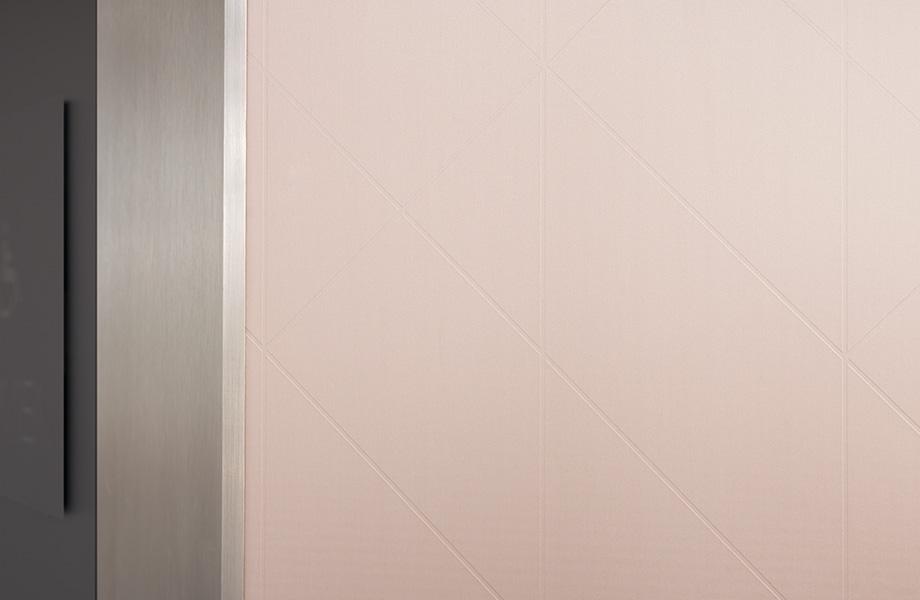 Womens restroom M8550 Matte Rose Gold Labyrinth DecoMetal